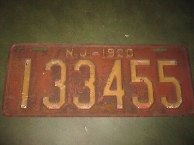 1920 New Jersey License Plate Original