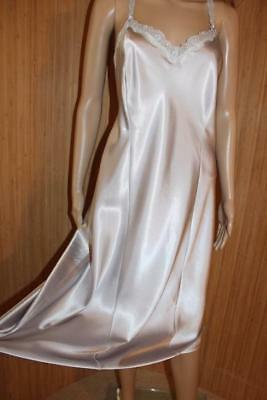 M&s Silver Silky Liquid Satin Poly & Lace Full Slip, Size 20 Tall