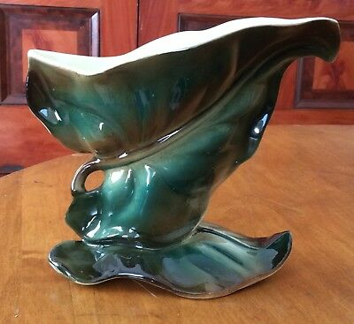 Vintage Shawnee Pottery USA Green Pottery Large Leaf Vase #822