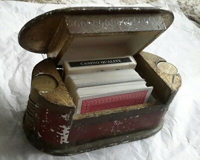 interesting old games box with decks of cards and mexico coins 100 peso italy