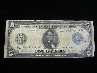 1914 $5 Five Dollar Large Bill Federal Reserve Note You Grade No Reserve