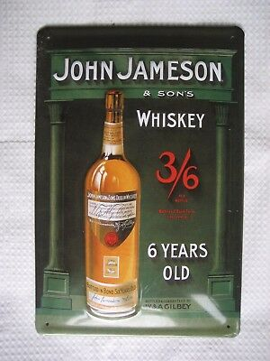 """John Jameson and Sons Whiskey Embossed Steel Sign Vintage Bar Decor 12"""" x 8"""""""