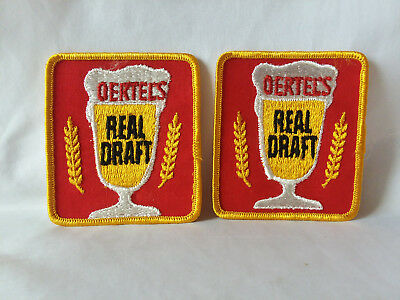 """Lot of 2 Vintage Oertel's Draft Beer small shoulder 3"""" x 3"""" cloth sew on patch"""