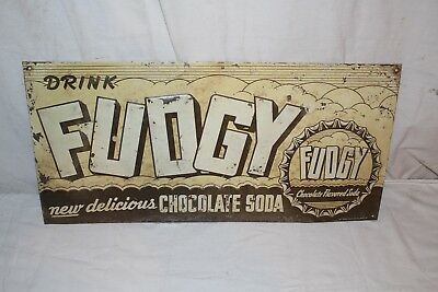 "Vintage 1950's Fudgy Chocolate Soda Pop Gas Station 24"" Embossed Metal Sign"