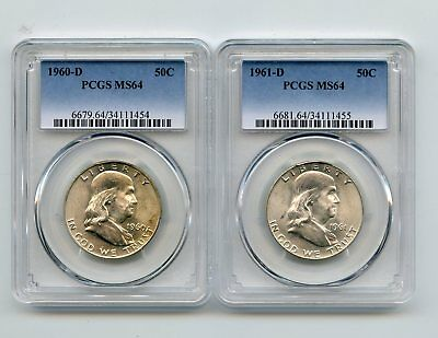 1960-D/1961-D Silver Franklin Half Dollars (MS64) PCGS 2 Coins