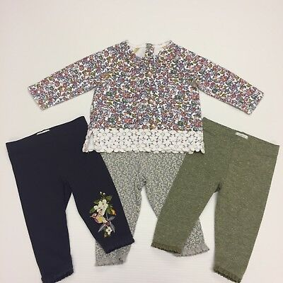 Next Top And 3x Leggings Size 6-9 Months Baby Girls Bundle