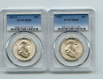 1951-S/1952 Silver Franklin Half Dollars (MS63) PCGS 2 Coins