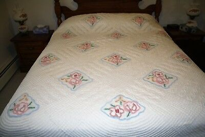 Vintage Chenille Bedspread White W/Colorful Flowers