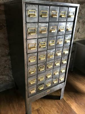 Absolutely Stunning Vintage Industrial  Stripped Metal 35 Drawer Cabinet