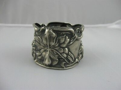 Antique Sterling Silver Frank Whiting Repousse Napkin Ring Lily Floral