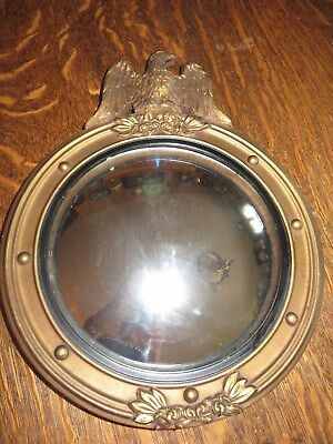 Vintage American Federal Carved Wood Eagle Round Porthole Convex Mirror Colonial