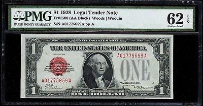 """$1 1928 FR-1500 $1 RED SEAL FUNNYBACK, PMG 62 EPQ, """"Exceptional Paper Quality""""!"""