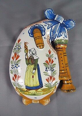 Henriot QUIMPER Wall Pocket: c1900 Bagpipe French Faience Breton Woman Vase