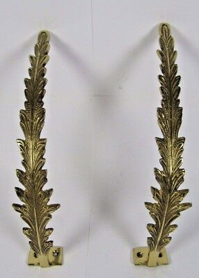 French Curtain Tiebacks: Vintage Pair Brass Bronze Empire Style Leaves Wall Hook