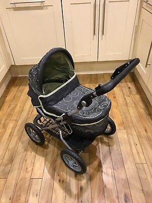 Toy Pram Silver Cross Green Black And Grey Design