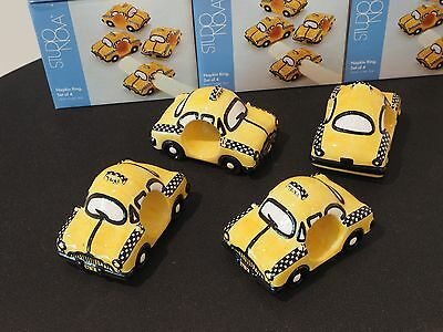 Vintage Studio Nova New York Taxi Napkin Rings Holder Yellow Cab Box of 4 New