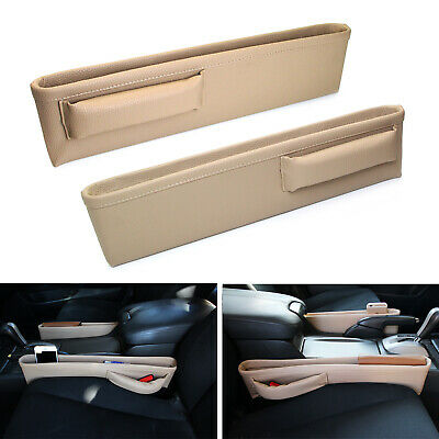 Beige Leather Car Side Pocket Organizers, Seat Catchers For Key Wallet Phone etc