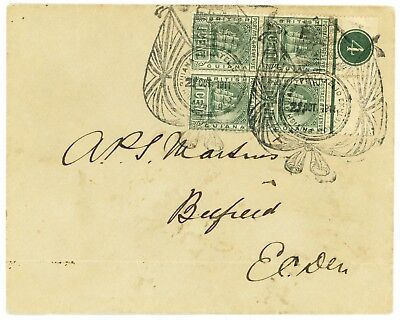 British Guiana 1911 Philatelic Exhibition, Local Used To Belfield, East Coast