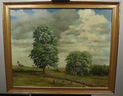 Vintage Large Framed Oil On Board Painting Of Trees By Peter George 1970