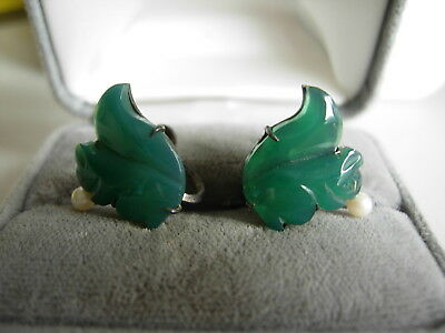 Gorgeous Carved Chrysophrase & Pearl Earrings Silver