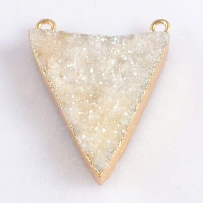 Triangle Natural Agate Druzy Titanium AB Connector Gold Plated T046969