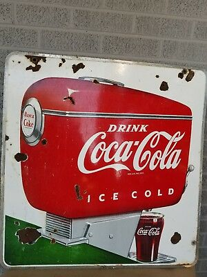 VINTAGE COCA COLA PORCELAIN SIGN..no reserve