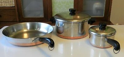 "Vintage Revere Ware Copper Clad Bottom 4.5 qt Pot & 1qt Pan w/ Lid , 12"" Skillet"