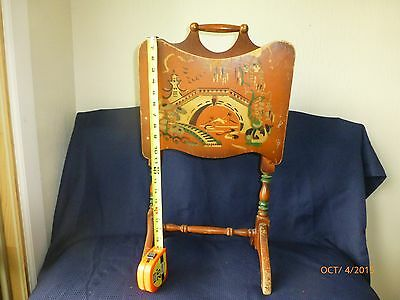 Vintage Wood Magazine Rack Wooden Floor Stand Ornate Finish Oriental Picture