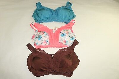 LOT OF 3 RHONDA SHEAR LACEY PIN-UP BRAS REMOVABLE PADS Brown/Floral/Teal PLUS 3X