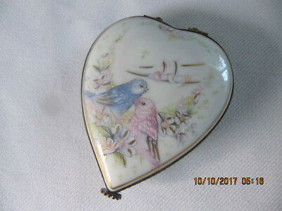 Vintage Heart Limoges Trinket Box Love Birds Peint Main Handpainted