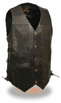 Milwaukee Leather Mens 10 Pocket Side Lace Vest-Tall Black