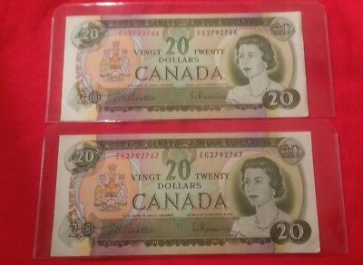 Lot of 2 Canadian 20 dollar bills 1969 consecutive serial numbers AU to UNC