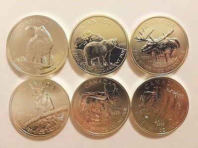 2011 2012 2013 Canadian Silver Grizzly Wolf Cougar Moose Antelope Bison Lot of 6