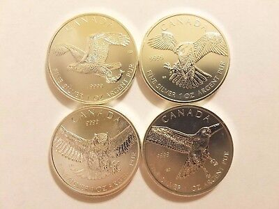 2014 2015 Canadian Silver Birds of Prey Eagle Falcon Owl Hawk Lot of 4