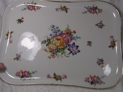 """Limoges Gold Edge + Floral Serving Tray  Orlibe 12"""" by 8.75"""" Nice one"""