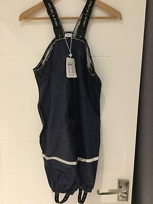 new BNWT POP polarn pyret rain trousers overall dungarees 1-2 year scandi