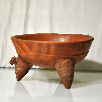 Pre-Columbian Tripod Rattle Bowl with Anthropomorphic Head Costa Rica 1100 A.D.
