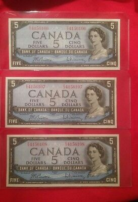 Lot of 3 Canadian 5 dollar bills 1954 consecutive serial numbers AU to UNC