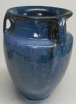 "antique fulper THREE HANDLE BULLET VASE BLUE  6 3/4"" art pottery 1920's"