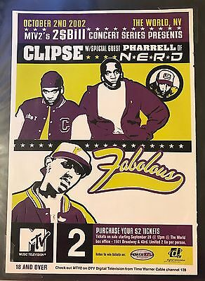 MTV2 2$Bill $2 Concerts Magazine Pin Up Poster w CLIPSE PHARRELL FABOLOUS TWEET