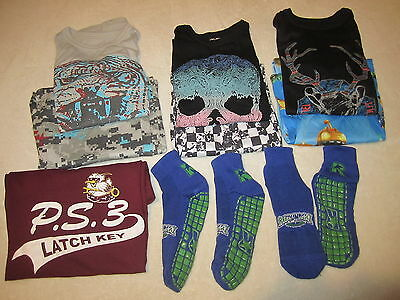 Lot 9 Sleepwear Pajamas Shirts Pants Slippers + Boys Clothes Size M L 8 10 Sale