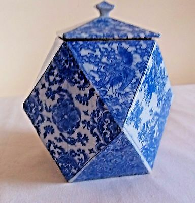 Antique RARE Chinese Export Blue & White Tea Caddy , unmarked Geometric