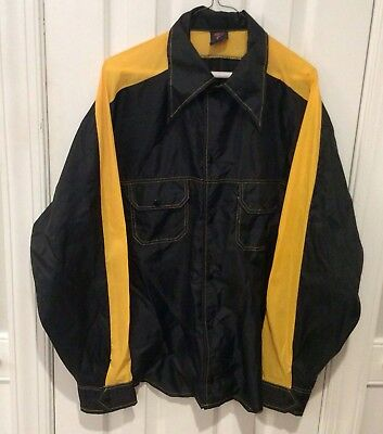 Vintage Nike Men's Black and Gold Jacket with Button Snaps