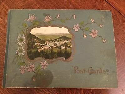 Antique EARLY 20th Century Postcard Collection Embossed Album 200 Lot US Stamps
