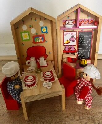 Rare Wooden Cafe Coffee Shop Dolls House Set