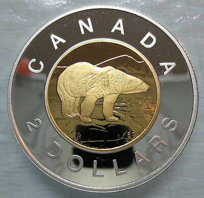 2002 Canada Toonie Proof Silver With 24K Gold Plated Core Two Dollar Coin - S