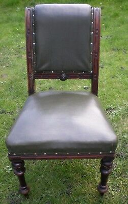 Antique Victorian Library Office Chair Green Leather Seat solid heavy Mahogany B
