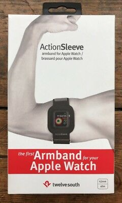 TWELVE SOUTH ActionSleeve sport exercise armband, Apple Watch 42mm, Black