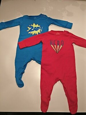 Baby boys superhero sleepsuits x 2 (Next) 3-6months