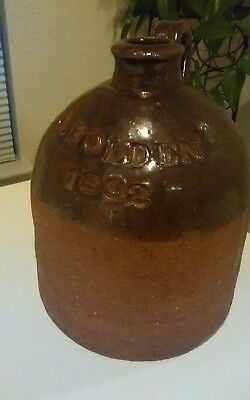 Rare Early Redware Stoneware Whiskey Jug 1892 O. HOLDEN